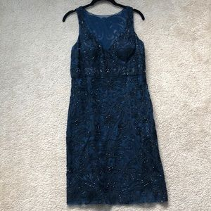 Embroidered Navy Sue Wong Dress sz12